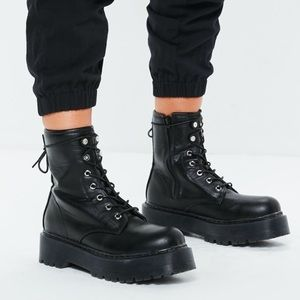 BRAND NEW! Black Chunky Sole Lace Up Ankle Boots